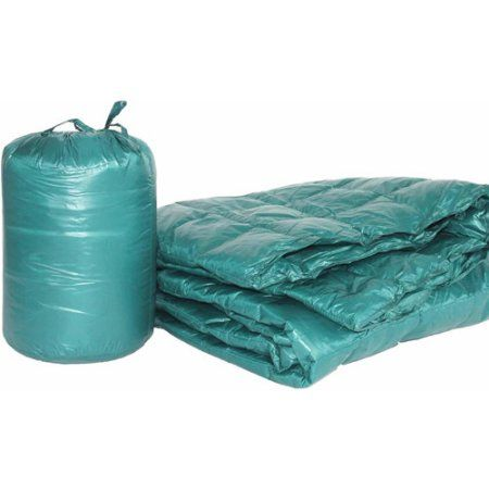 50 inch x 70 inch Puff Ultra Light Indoor/Outdoor Nylon Throw with Compact Travel Bag, Blue