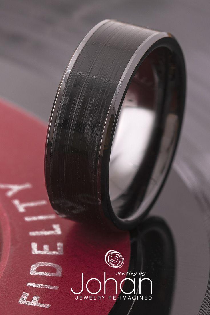 Vinyl Record Ring In Black Ceramic Jewelry By Johan Mens Wedding Bands Rock N Roll Wedding