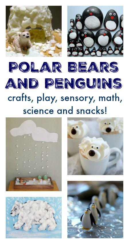 Polar bear crafts and activities, penguin crafts and activities, Polar unit, Arctic, Antarctic unit, Polare theme homeschool resources