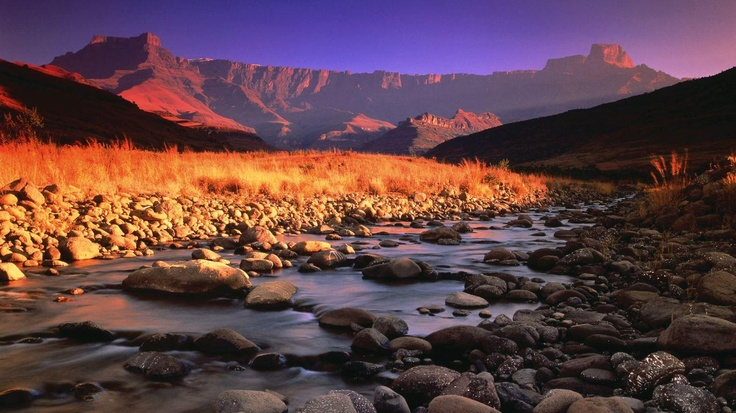 Drakensberg Mountains and Tugela River at sunset. Magical.
