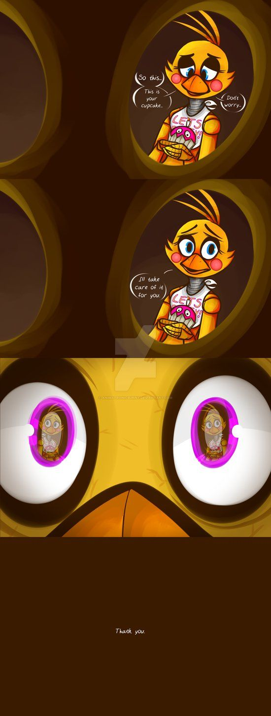 A little comic between Chica and Toy Chica. If the cupcake was originally attached to Withered Chicas hand like it is to Toy Chicas, that could be why Withered Chica has no hands. They took h...