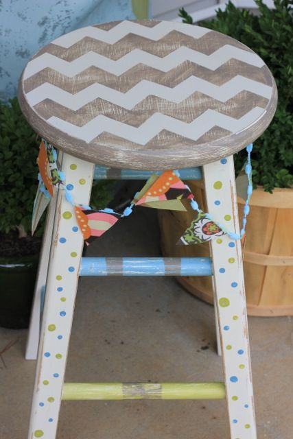 Chevron Painted Stool with Banner @ DaisyMaeBelle.com