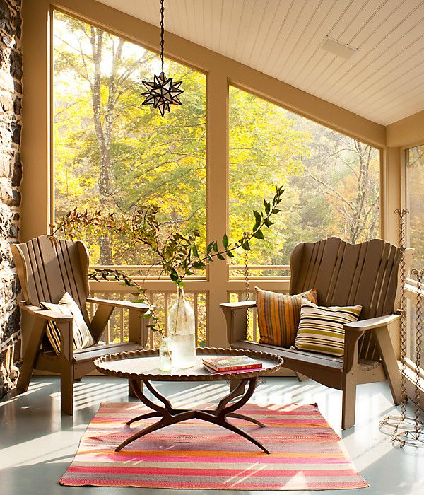 Adirondack chairs - the perfect screened in patio transitional furniture