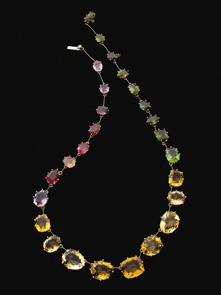Sunrise necklace in 18K yellow gold with Brazilian gemstones