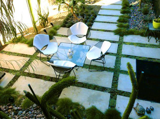 Beautiful terrace. #romantic #grass #tiles #green #plants #table