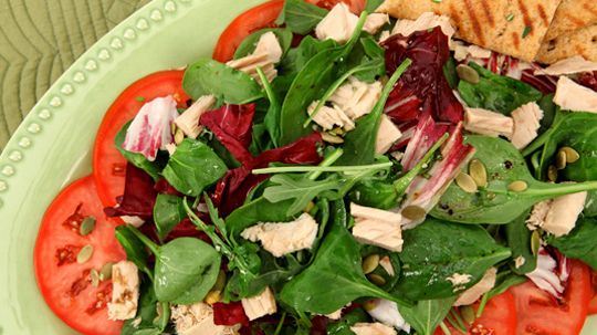 Mixed Greens with Tuna and Pumpkin Seeds. This attractive supper salad is a great fit for a family dinner or entertaining.