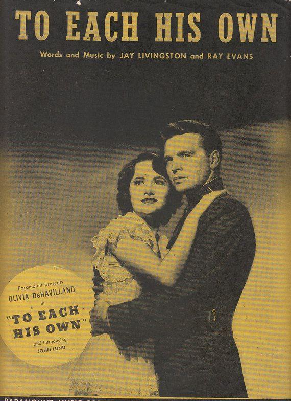 To Each His Own 1946 Sheet Music Paramount Movie Olivia DeHavilland John Lund