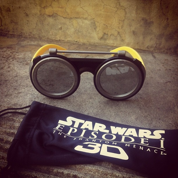 Starwars 3D goggles! I got a pair for the boyfriend and decided to get a pair for myself since I think funky designed 3D glasses are damn cool.  #StarWars #PhantomMenace #ThePhantomMeance #AnakinSkywalker #3D #3Dglasses #glasses #StarWarsEpisode1 #geekery #scifi #goggles #3Dgoggles #Anakingoggles