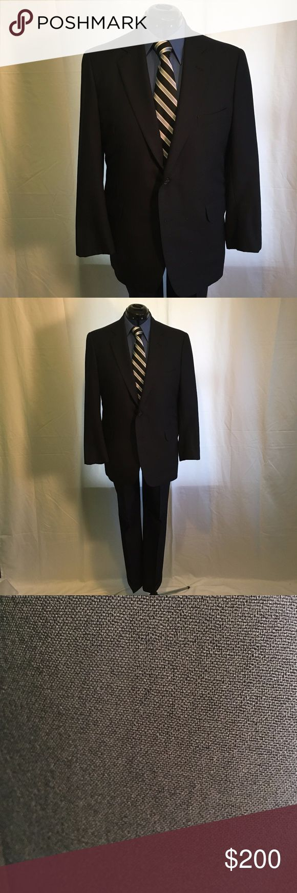 """Brooks Brothers Suit Brand: Brooks Brothers  Size: 41 Reg  Condition: Gently Used  Retail Price: $1198  Color: Black Armpit to armpit: 23"""" Waist: 22"""" Hem:22""""  Length Shoulder to Hem: 31"""" Sleeve Length (Top of shoulder to cuff): 23 1/2"""" Sleeve Opening: 6"""" Shoulder to Shoulder: 19""""  Aligned Waist: 18"""" Hips at Widest: 21"""" Rise: 12 1/2"""" Inseam: 30 1/2"""" Leg Opening: 9"""" Closure: Button and zipper Brooks Brothers Suits & Blazers Suits"""