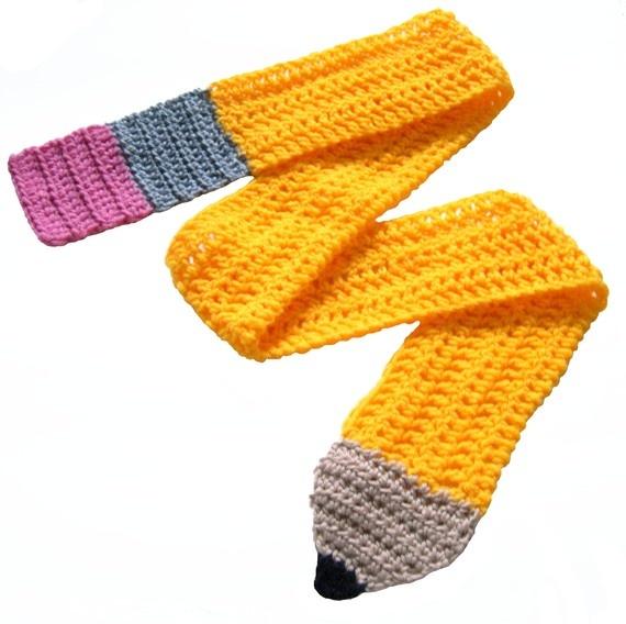 Yellow Crochet Pencil Scarf - Teacher gift, unisex winter ...