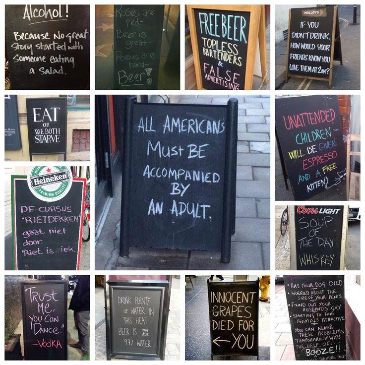 De humor ligt op de straat #humor #funny #americans #grapes #pubs #pub #cafe #straatborden #street #advertising #reclame #grappig #tip #jufsas #straat #restaurant #eten #food #drinks #drink #drinken #whiskey #beer #bier #wijn #wine
