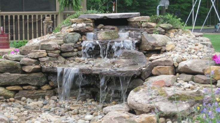 17 best images about rock water fall dry on pinterest for Garden pond grills