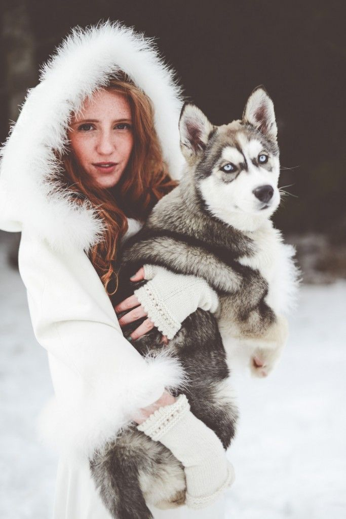Mariage d'hiver, Winter Wedding, snow, neige, couple, love, bride and groom, ceremony, weddingdress, husky