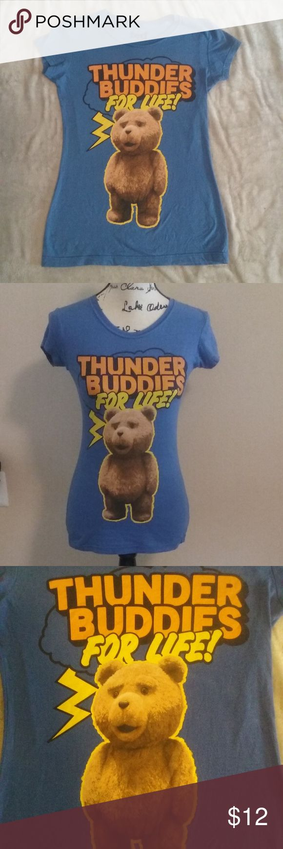 "Ted Thunder Buddies JRS Slim Fit T-shirt Small Cute blue juniors slim fit Ted Thunder Buddies for Life graphic t-shirt , size small measures approximately 23"" long from back collar and 15.5"" underarm to underarm. Ripple Junction Tops Tees - Short Sleeve"