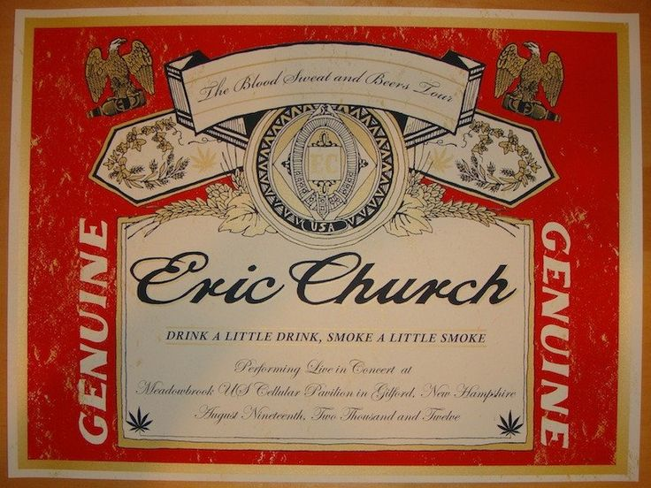 2012 Eric Church - Gilford Concert Poster by Nate Duval