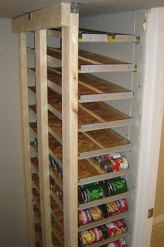 small canned food storage rotation shelf