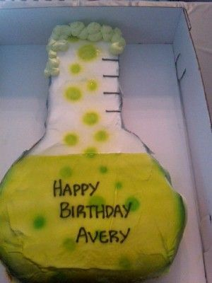 Target bakery for her son's seventh birthday. The party had a mad science theme and the beaker pull-apart cupcake cake was a perfect fit. This would be a great cake to make for a Halloween party too. I wish my local Target had a bakery