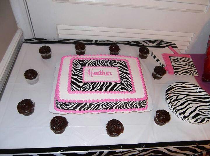 Zebra Print Cake Done By Walmart It S A Girl Pinterest