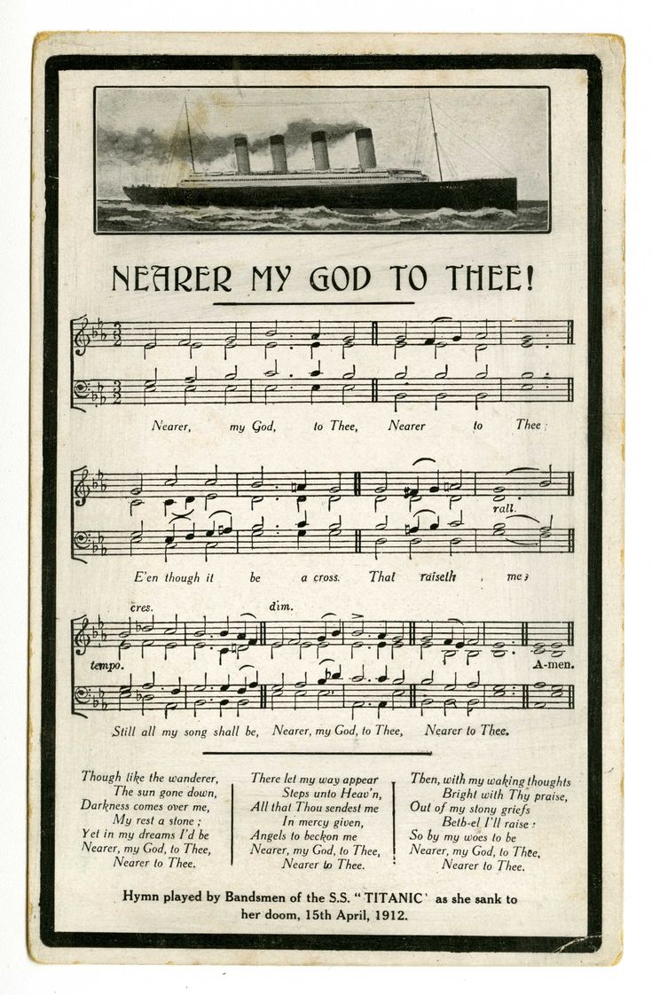 """Titanic Mourning Postcard from 1912. Many survivors remembered that the Titanic's eight musicians played the hymn """"Nearer My God to Thee"""" immediately before the ship sank. The hymn became a popular theme on Titanic memorial postcards. None of the musicians survived. Courtesy Dr. Edward and Joanne Dauer."""