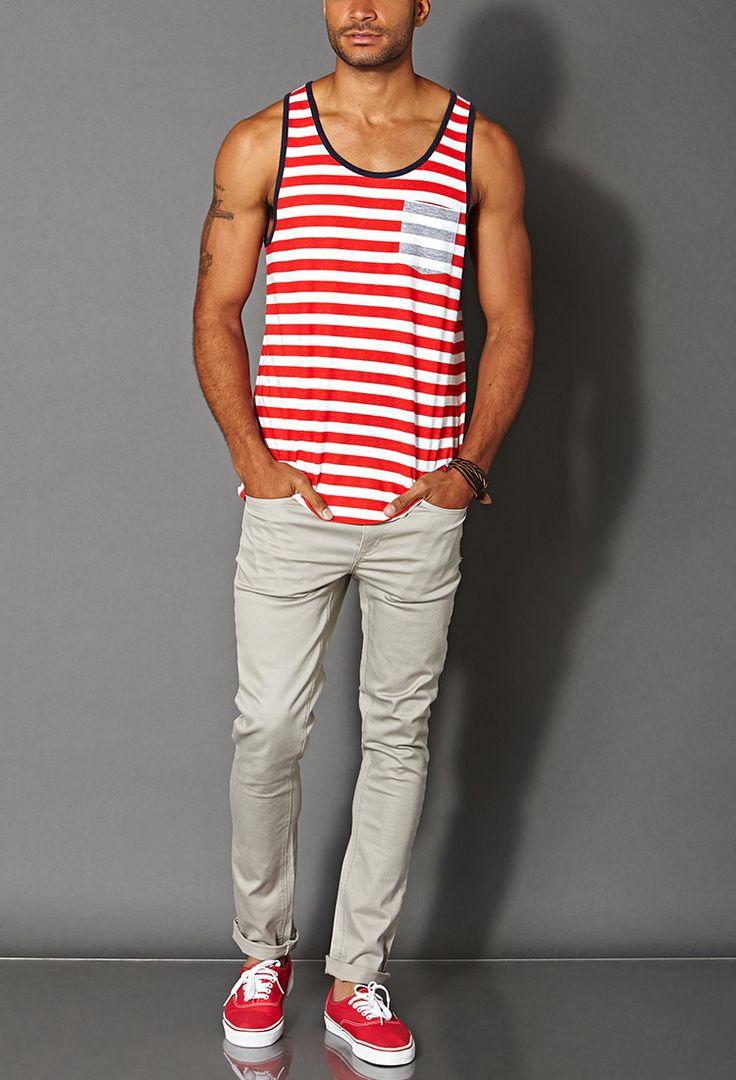 Striped Pocket Tank Top #21Men