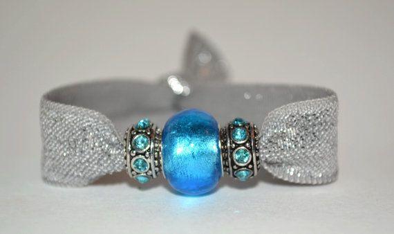 Fold over elastic hair tie with silver elastic and 3 blue charms. Creaseless hair ties, yoga hair ties, charm bracelet, beaded hair ties,FOE
