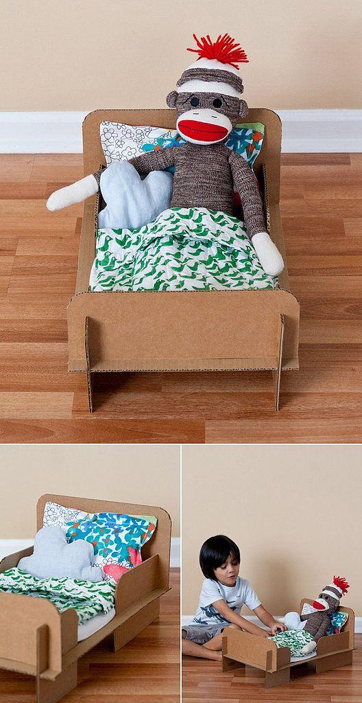 DIY cardboard box doll bed