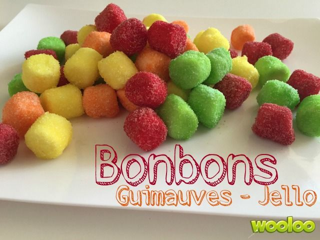 Une recette de bonbons guimauves/Jello simple comme tout à préparer et dé-li-cieuse! Parfaite pour mettre de la couleur sur une table!