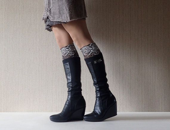 Lace Boot Cuffs_Womens Boot Cuffs_LaceToppers_Half Socks Cute_Black and White Color Lace Cuffs_Women Boot Socks_Gift Ideas_Free Ship_С5013