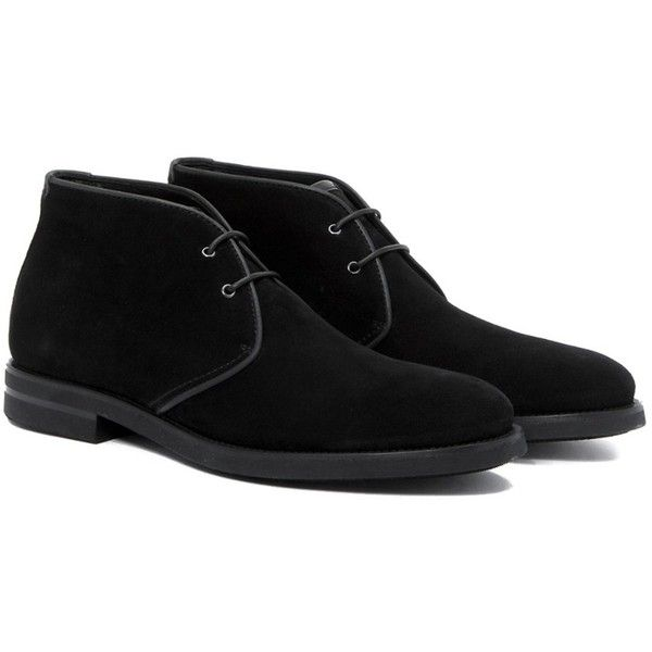 Aquatalia Carlos Leather Chukka ($200) ❤ liked on Polyvore featuring men's fashion, men's shoes, men's boots, black, shoes, mens leather lace up boots, mens black chukka boots, mens black leather boots, mens chukka boots and mens black lace up shoes