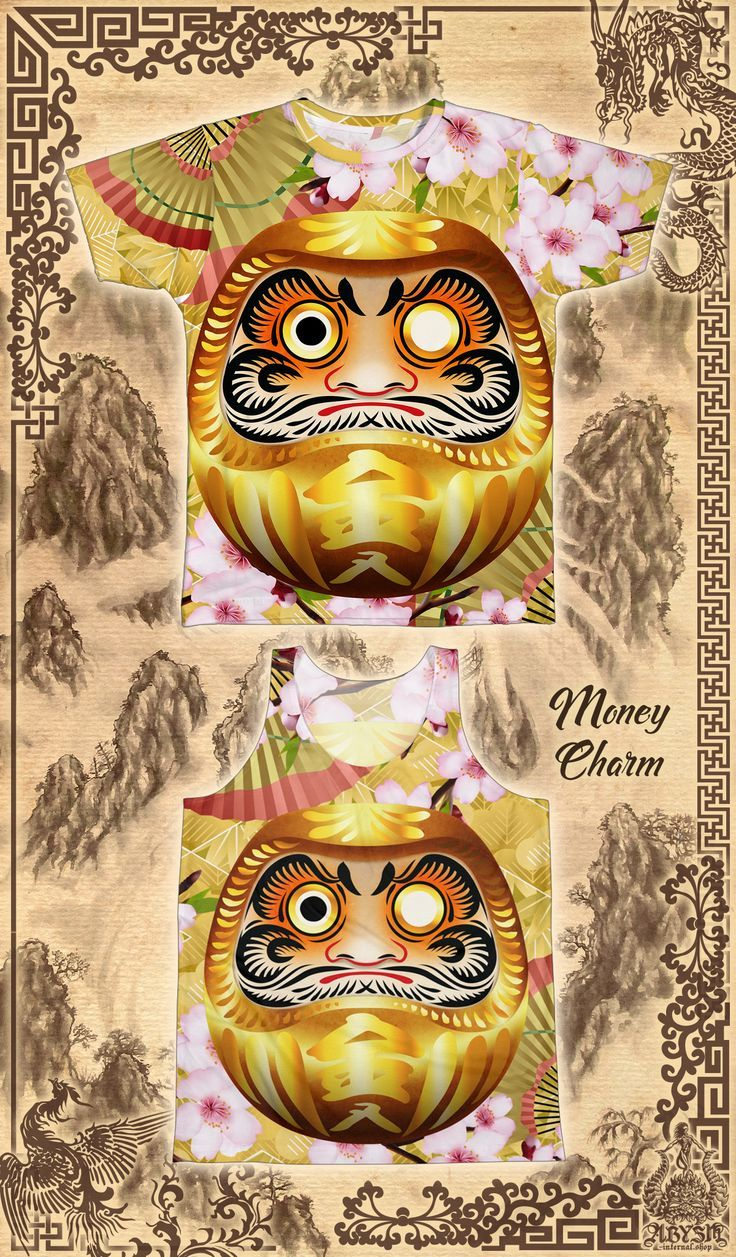 3437162a Japanese Daruma wishing doll, the gold version is a good luck charm for  money. T-shirt and tank top for men and women / Unisex All Over Sublimation  Print ...