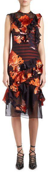 Givenchy Sleeveless Floral-Print Chiffon Dress, Multi