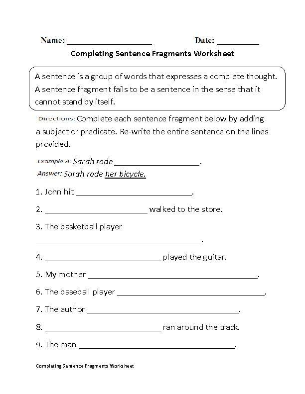 Englishlinx Ayah Sentences and fragments worksheets