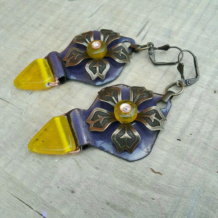 *Les Sarah Bernard* - Emaux - Boucles d'oreilles style art déco : Boucles d'oreille par echappee-perles