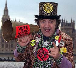 Screaming Lord Sutch. Musician and parliamentary candidate. Born David Edward Sutch in New End Hospital, Hampstead. After a less than successful pop career he turned his attention to politics, founding the Monster Raving Loony Party in 1983. In all, he contested forty elections and although never coming close to being elected, always obtained a respectable percentage of the vote cont..