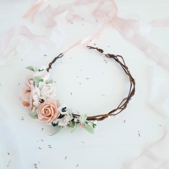 Bridesmaids crown, Pink hair crown, Bridal flower halo, Blush flower crown, Flower headband, Flower