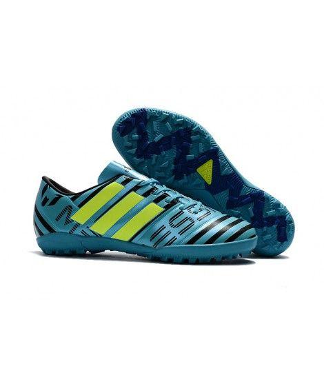 Adidas Messi Nemeziz 17.1 TF Suola Per Erba Sintetica Scarpe Da Calcio Blu Verde Nero