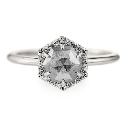 1.15 Carat Grey Diamond Hexagon Halo Engagement Ring, 14k White GoldThe ring features a beautiful unique 1.15 carat grey hexagon diamond. The top quality diamond sits in a hexagon shaped halo setting, held in with 6 prongs. The halo set...