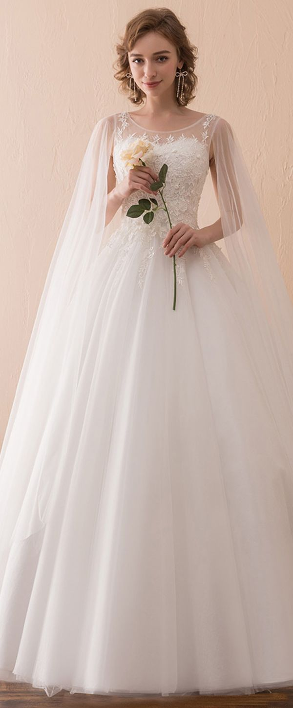 In Stock Elegant Tulle Scoop Neckline A-line Wedding Dress With Lace Appliques & Beadings