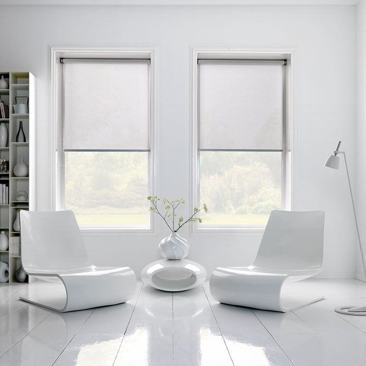 Sheer roller Blinds in white living room | Remodelista