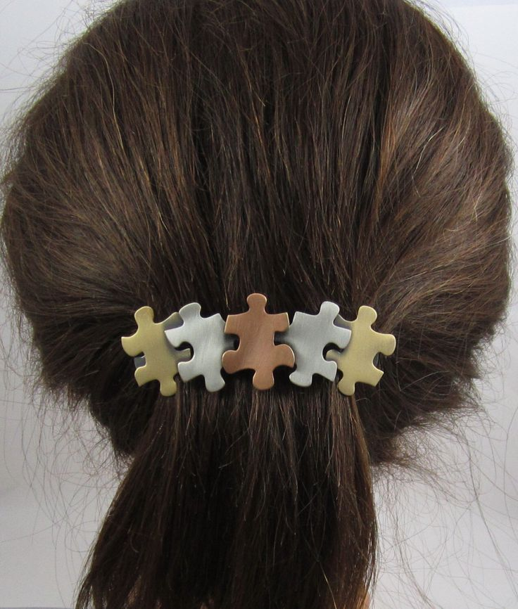 Autism Awareness French Barrette- Hair Accessories- Hair Clip- Puzzle Jewelry by PINSwithPERSONALITY on Etsy https://www.etsy.com/listing/118625662/autism-awareness-french-barrette-hair
