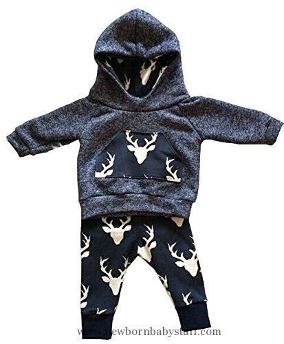 Baby Boy Clothes Aliven Toddler Infant Baby Boys Deer Long Sleeve Hoodie Tops Sweatsuit Pants Outfit Set #babyboyhoodies #babyboylongsleeve #babyboyoutfits