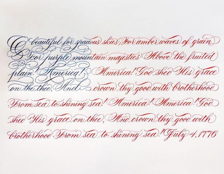 God shed His grace on thee. Happy Birthday, America!! 🇺🇸 #calligraphy #july4th #flag #freedom #independanceday #summer #america #usa #copperplate #calligraphymasters #flourish #flourishforum #johnnealbookseller #paperandinkarts #iampeth