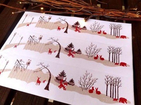 Vánoční štítky na dárky - Zvířátka štítky vánoční etikety jmenovky