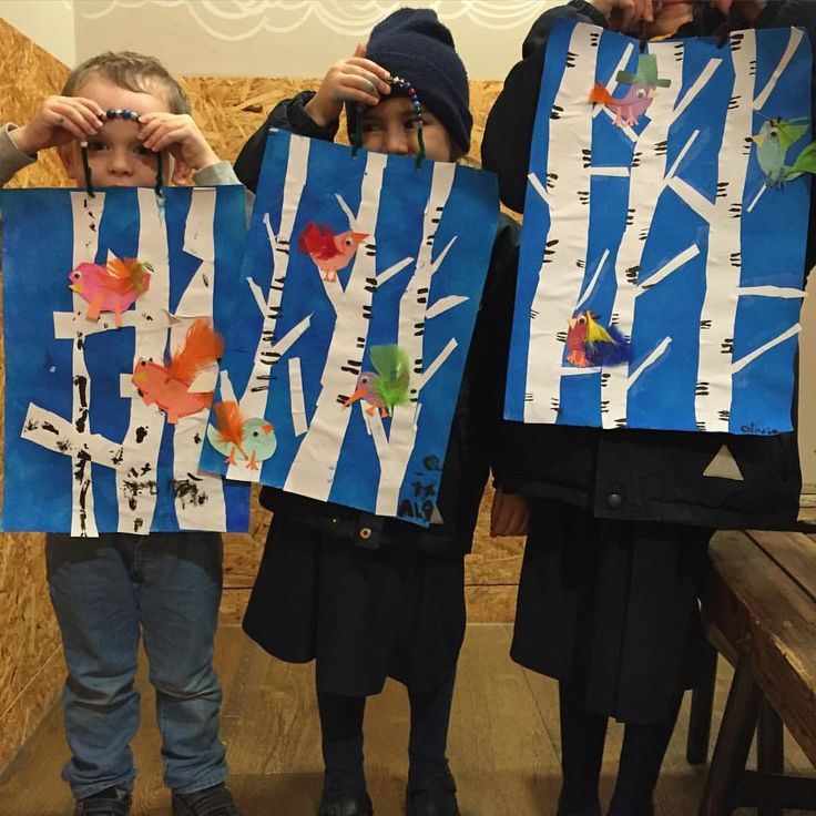 Birds on birch trees - art project at the Paperbirds Art Club at Whole Foods Market Fulham today. Using paintroller for the background and creating beautiful trees and birds. Birds art for kids / children with paintroller, paper and feathers Birch trees and winter birds art for kids