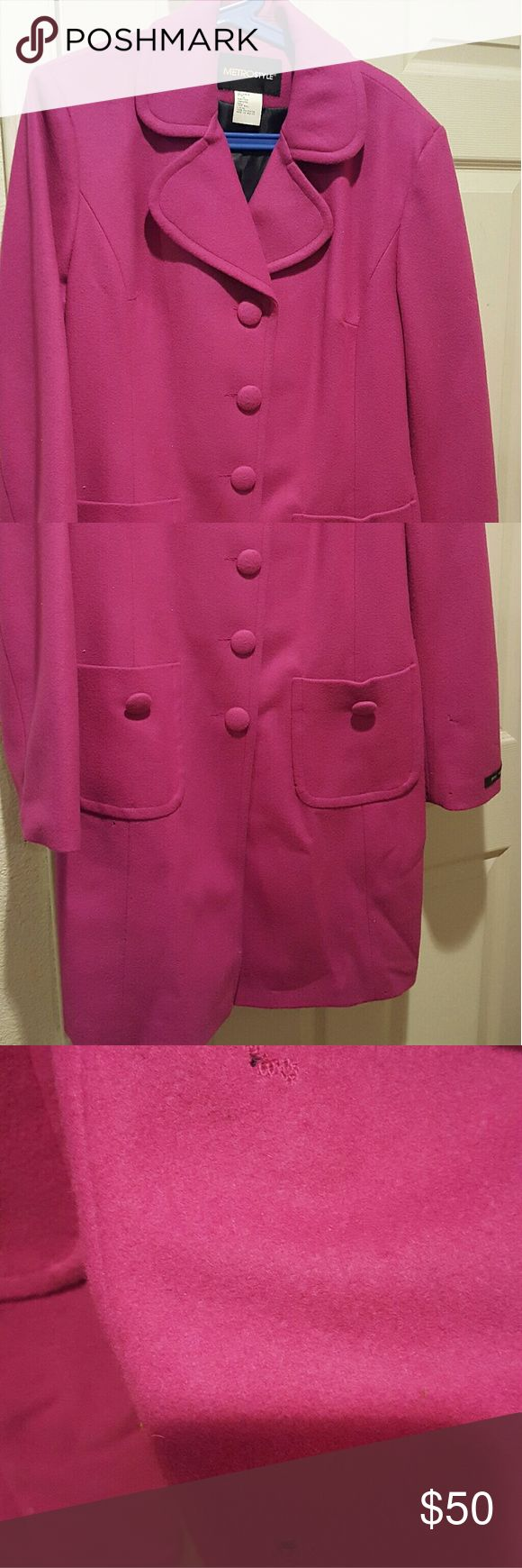 New Metro Style Fuschia Jacket 100% Wool Cute!! Cute Style Got as a Gift wasnt able to fit into it. There are 3 small pin holes as shown in picture not aure how happened, never worn. Reasonable offers accepted would like someone to get some wear out of it. Metro Style Jackets & Coats Trench Coats