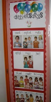 Cartel para indicar los cumpleaños de los niños de la clase a lo largo del curso.