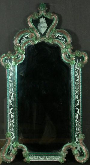 Fratelli Tosi Venetain Etched Murano Glass Mirror with Burning Heart and Crown of Thorns at Crest Piece. Molded, Etched & Cut Coloured Glass and Mirrored Glass. Venice, Italy. Circa 19th Century.