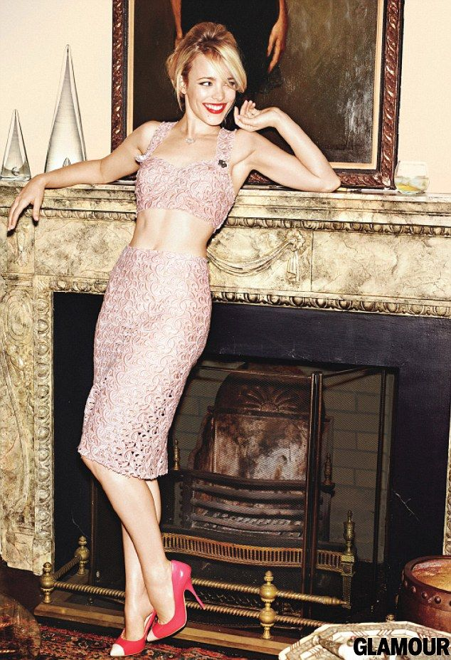All smiles: Rachel flashes her tummy as she leans against a fireside in Glamour  Feb 2012  Rachel is promoting her upcoming film, The Vow, with another Hollywood hunk, Channing Tatum.  In it she plays an amnesiac whose husband tries to woo her back.