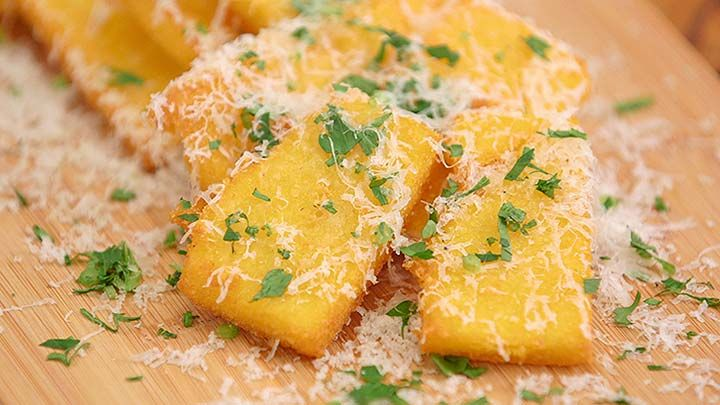 Crispy Polenta Chips with Truffled Parmesan via Everyday Gourmet with Justine Schofield
