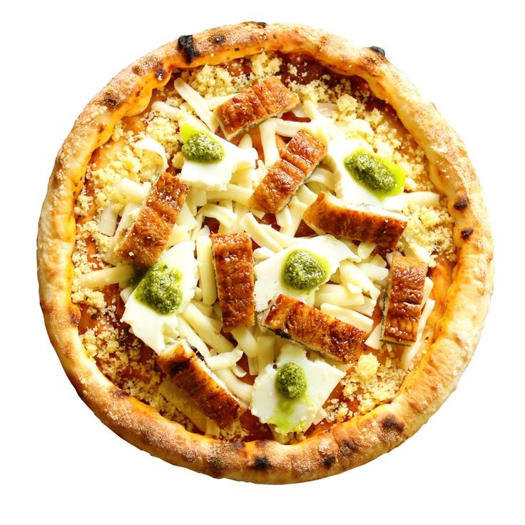【神戸ピザ】うなぎのジェノバ風  ※緑色のはワサビではなくジェノベーゼ(バジルのソース)